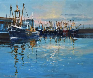 Richard Blowey Original Oil Painting Boats In A Cornish Harbour